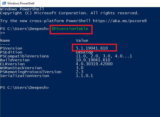 """Type the following command """"$PSversionTable"""" into the newly opened Powershell window and press Enter:"""