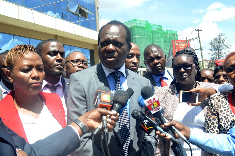 Jubilee Party secretary-general Raphael Tuju accompanied by Jubilee MCAs at the party headquarters in Pangani, Nairobi, on October 16, 2019.
