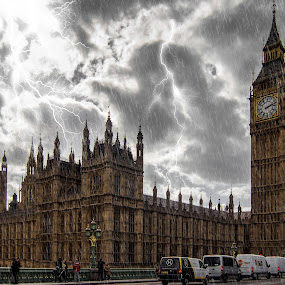 Stormy London Town by Jan Murphy - City,  Street & Park  Historic Districts ( lamps, clouds, landmark, lightning, time, traffic, london, spires, moody, big ben, bridge, houses of parliament, people, rain,  )