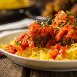 Spaghetti Squash with Vegan Mushroom Meatballs
