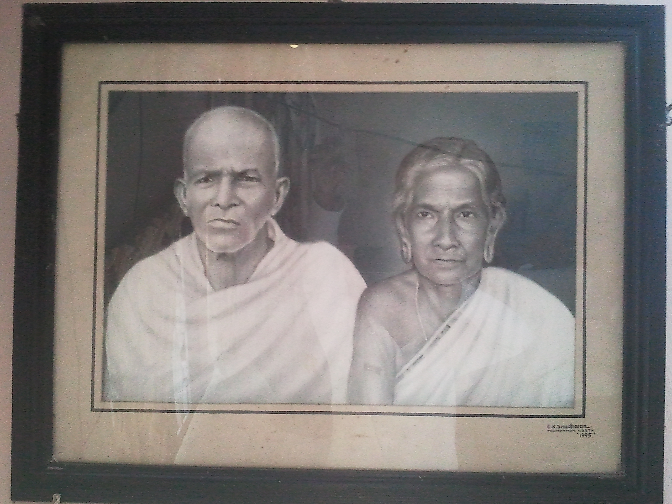 Photo: MY GOD GRANDFATHER & MY GOD GRANDMOTHER (Sri.VelutthaKunju ''Ayathil 'Panicker'& Smt.chakkiAmma ''Ayathil 'Panicker')Our high reputed families was known as''Ayathil 'Panicker' EZHAVA Families' OF AYATHIL FIELDS '(A Honorific hereditary family title affix name bestowed by'' KING His highness Pandalam Varma'' ) our old family was Land Owners & Merchants,                  ',There was a history in ancient times ABOUT OUR FAMILY ,'when KING PANDALAM of ROYAL family  visited our ayathil'fields  in early morning in elavumthitta region.'KING PANDALAM was insulted & teased by our gladiators (Chekavar)owned by my great god grand father's father Sri.Kunju'Krishnan'Ayathil Panicker ,thus the king got very angry , and his nair- ezhava soldiers forcefully took away our gladiators(Chekavar) swords , bows and arrows ,and also forcefully took away the axes of our slaves too, then the king as usual went to nearest fields ,  BUT when the KING returned in evening  to our fields  on the way to his pandalam palace ' he was SHOCKED by seeing My great god grandfather's gladiator(Chekavar) with new GOLDEN  swords , bows ,arrows AND axes of our slaves are all made of GOLD. The king was surprised by the wealth and richness of my great god grandfather & family as landlord  ,and then KING PANDALAM smiled with RESPECT to my great god grandfather and told him these words :''YOUR FATE WILL NEVER CHANGE DESTINY ''and also given him SURNAME as :Sri.KunjuKrishnan'Ayathil'Panicker'EZHAVA Families  (A Honorific hereditary family title affix name bestowed by'' KING His highness Pandalam Varma'' of royal family)