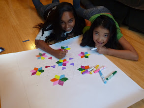 Photo: Melissa and Jamie starting on coloring the RANGOLI.jpg