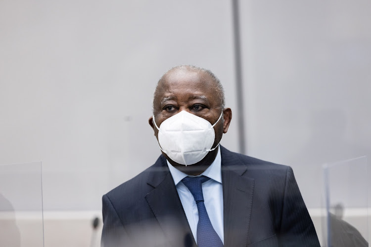 Former Ivory Coast President Laurent Gbagbo appears before the International Criminal Court in The Hague, Netherlands on March 31 2021. Picture: REUTERS/ICC-CPI