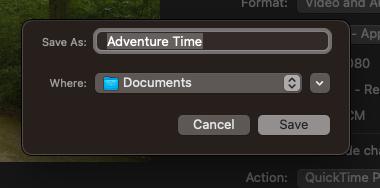 screenshot of Final Cut Pro final export window