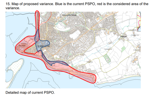 Map of proposed variance. Blue is the current PSPO, red is the considered area of the variance for the Exmouth PSPO