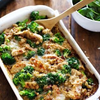 Creamy Chicken Quinoa and Broccoli Casserole.