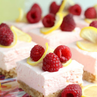 Raspberry Lemon No Bake Cheesecake Bars