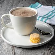 Hot Chocolate with Mango Shortbread Macaron