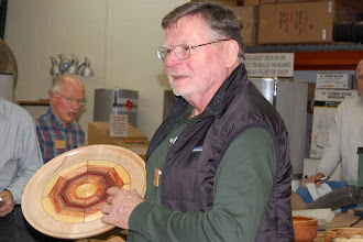 Photo: Richard Webster talks about his segmented lazy Susan.
