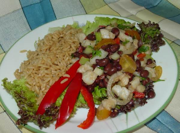 Tilapia Ceviche And Black Bean Salad With Red Bull Rice