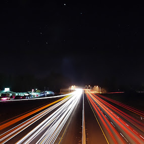 I-5 at night by Seth Brown - Transportation Automobiles ( highway, cars, dark, night, freeway, light )