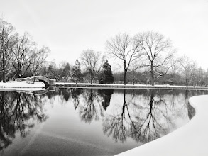 Photo: Black and white photo of trees and a snow-covered stone bridge in a lake at Eastwood Park in Dayton, Ohio.
