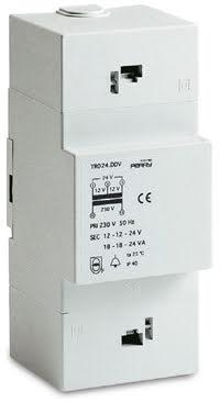 Trafo för DIN-montage, 15VA, 230/12-12-24VAC, 2 moduler