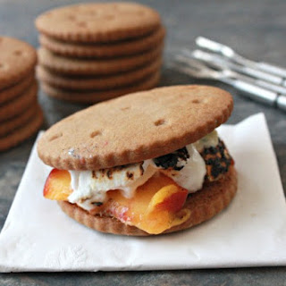 Peach and White Chocolate S'mores with Ginger Grahams