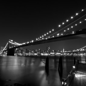 Night Under the Bridge by Marc Brian Queyquep - Buildings & Architecture Bridges & Suspended Structures ( manhattan skyline, brooklyn bridge, brooklyn bridge park, east river, bridge, new york )