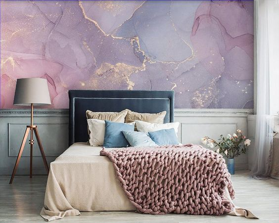Abstract Backdrop in Master Bedroom