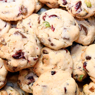 Cherry Pistachio White Chocolate Drop Cookies.