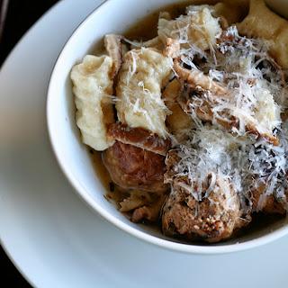 Veal & Lamb Ricotta Meatballs in Shitake Parmesan Broth