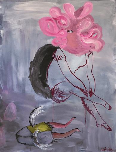 fantomes enfance sophie lormeau peinture contemporaine acrylique toile art contemporain figuratif onirique poetique singulier rose purple floraison portrait femme tableau french artist woman contemporary art singular figurative colorful flower