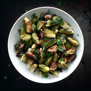 Pan-Roasted Miso Brussels Sprouts and Shiitake Mushrooms {recipe}