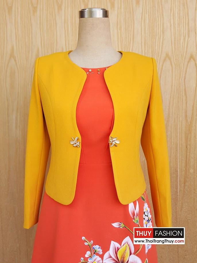 Áo vest nữ công sở kiểu cổ tròn màu vàng cam V475 Thời Trang Thủy