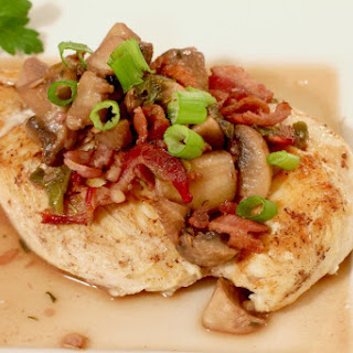 Chicken with Red Wine, Mushrooms, and Bacon.