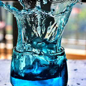 The Blue Splash by S Nair - Food & Drink Alcohol & Drinks ( indoor, blue, cocktail, splash water photography, splash water )