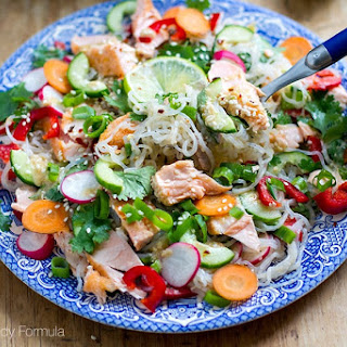 Shirataki Noodle Salad with Salmon & Sesame Lime Dressing