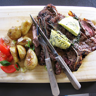 T-Bone steak with herbed compound butter