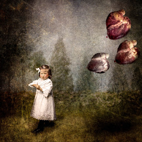 by Tina Bell Vance - Digital Art People ( fantasy, hearts, little girl, digital collage, digital art, white dress )