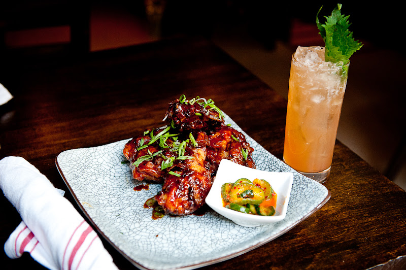 Photo: Korean fried chicken with shiso leaf julep with Wild Turkey at Social Eatz