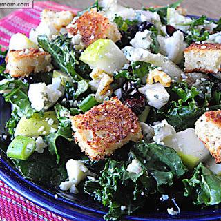 Raw Kale Pear Blue Cheese Salad with Lemon Vinaigrette