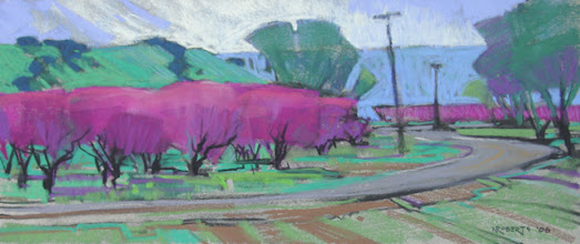 Photo: Lopez U-Pick, Brentwood, pastel by Nancy Roberts, copyright 2014. Private collection.