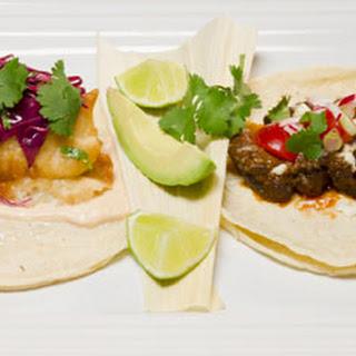 Beef Mole Tacos and Baja Halibut Fish Tacos.