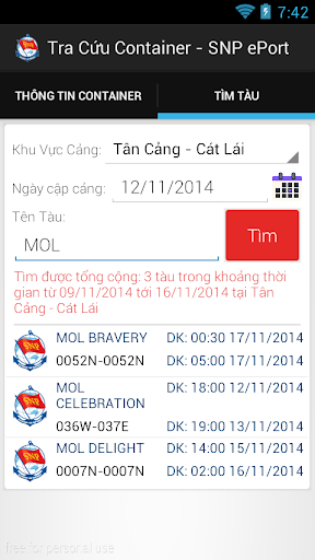 Tra cuu Container Cang Cat Lai screenshot 5