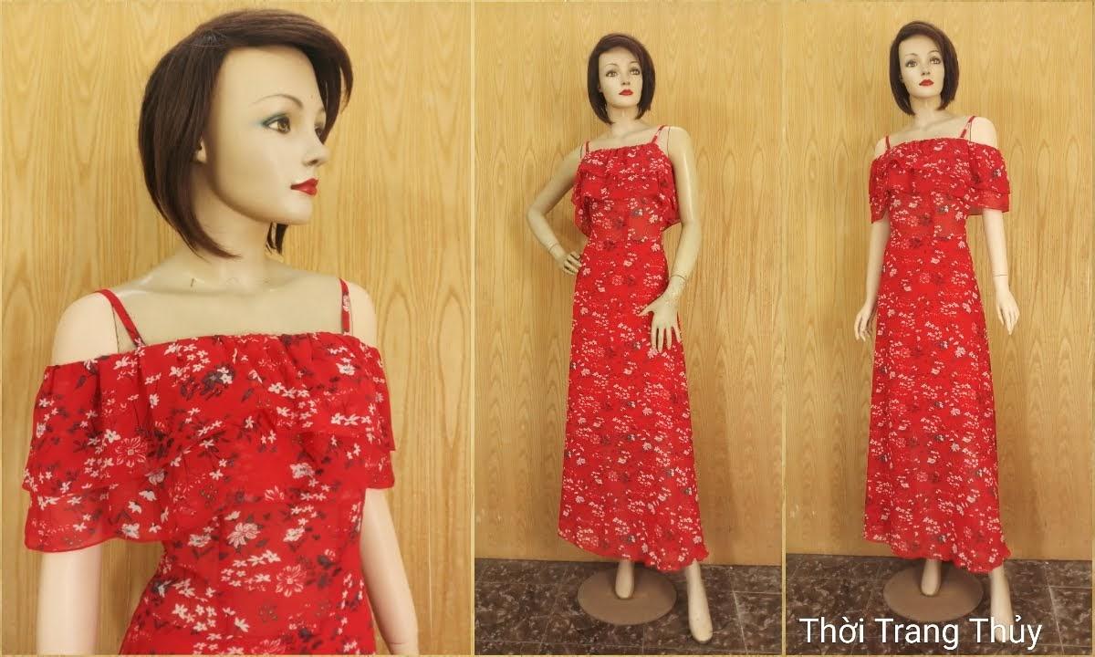 Váy Maxi hai dây hở vai hoa nhí màu đỏ V688 thời trang thuỷ