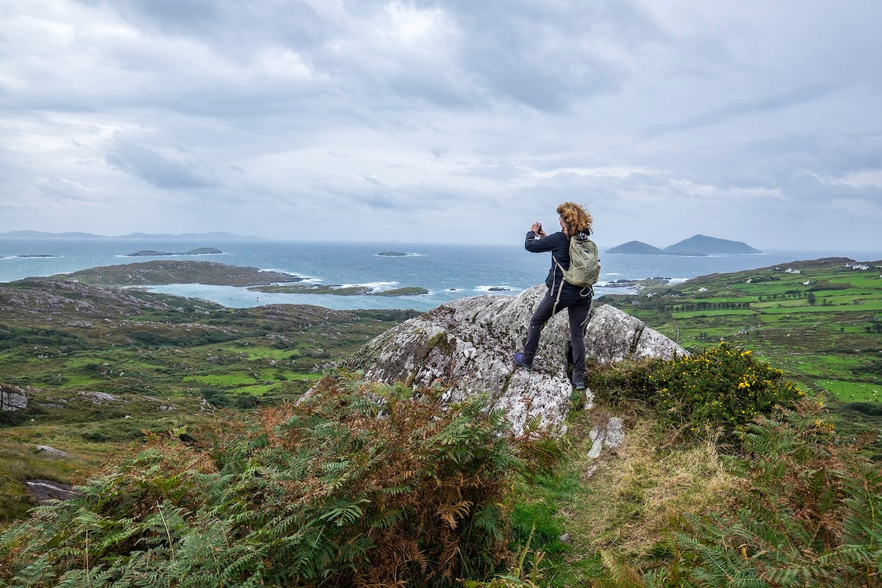 a female hiker, in the Beara Peninsula, Ireland
