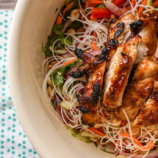 Asian Noodle Salad with Broiled Hoisin Chicken Thighs.