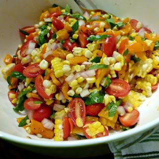 Sweet Corn, Tomato & Roasted Pepper Salad.