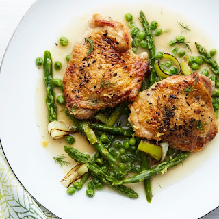 Braised Chicken With Asparagus, Peas, and Melted Leeks