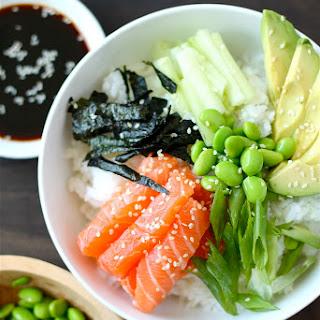 Sushi Bowl with Salmon and Edamame