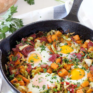 Sweet Potato, Corned Beef, and Cabbage Breakfast Bake.