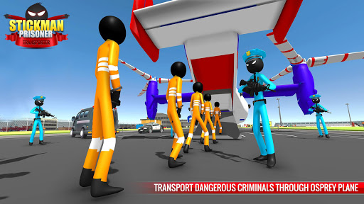 US Police Stickman Criminal Plane Transporter Game apktram screenshots 8