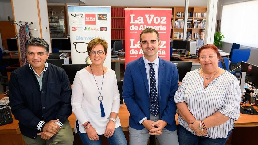 Los candidatos que participaron ayer en el debate de la Cadena SER. Cazorla (CS), Valverde (PSOE), Fernández-Pacheco (PP) y Román (IU).