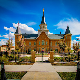 Provo City Temple by Dan Bartlett - Buildings & Architecture Places of Worship ( temple, fence, sky, blue, provo )