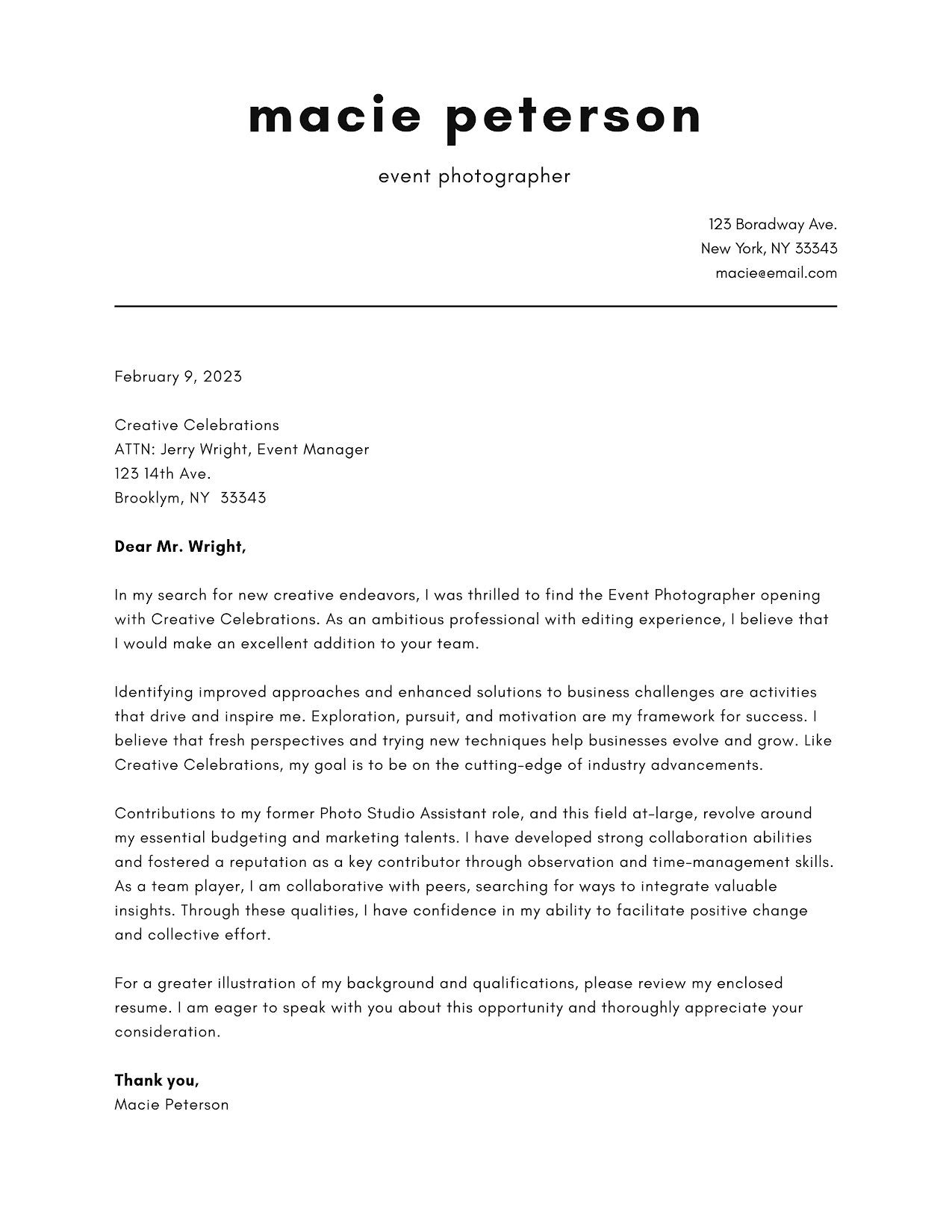 Macie Peterson - Cover Letter Template