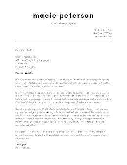 Macie Peterson - Cover Letter item