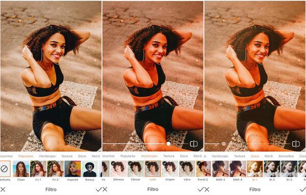 Foto de uma mulher negra sentada na rua, sendo editada pelo AirBrush com o Filtro