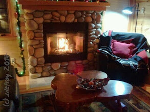 Photo: The chair, fire, fireplace, warm, comfortable, luxurious cabin on the McKenzie. Delicious.