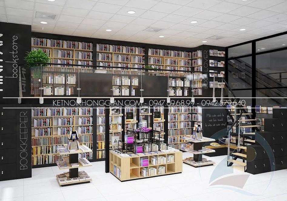 thiết kế nội thất nhà sách cá tính